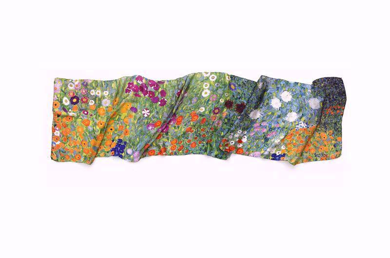 Afbeelding van Gustav Klimt Zijden sjaal 'Bloementuin'