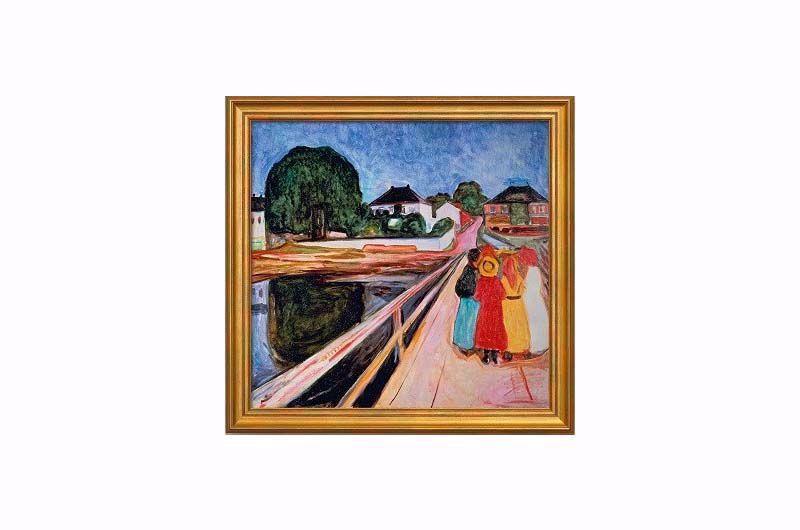 Afbeelding van Edvard Munch 'Meisjesgroep op een brug'