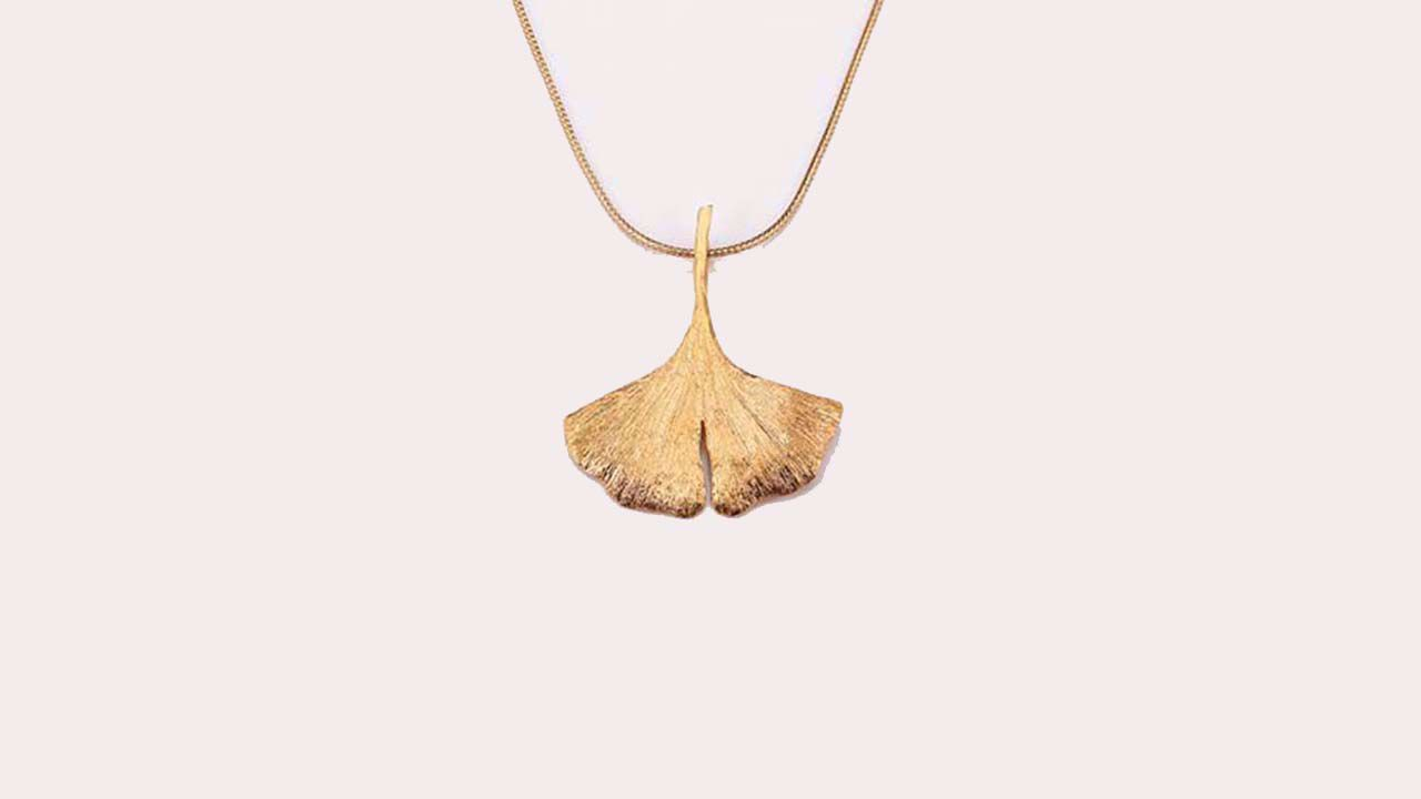 Product afbeelding: Ginkgo-halsketting, Collier in sterling zilver 925, verguld