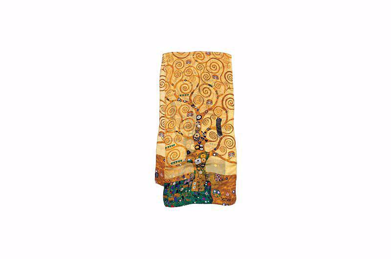 Gustav Klimt Naar het kunstwerkdat deel uitmaakt vanGustav Klimts''Stoclet fries''. 1909 11.Als in een paradijstuin ontvouwt de boom van leven en kennis zich in een spiraal. Reproductie op pure zijde. Formaat 180 x 45 cm.Levertijd 1 tot 2 weken.