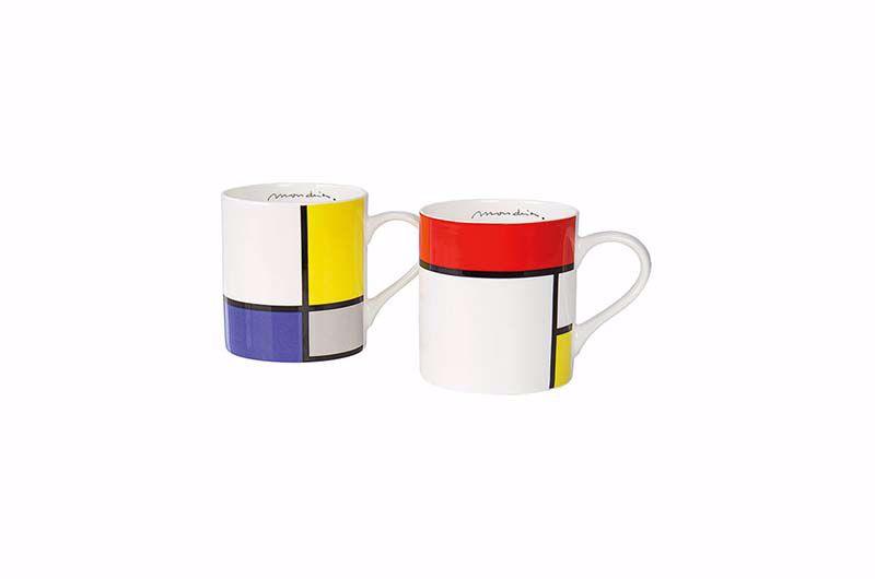 Product afbeelding: Piet Mondriaan 2 koffiemokken met motieven in set