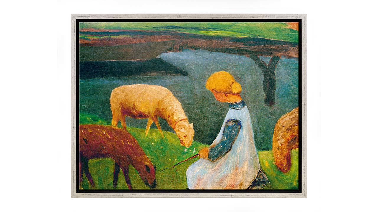 Product afbeelding: Zittend meisje met schapen bij de vijver I