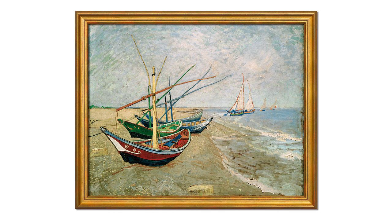 Product afbeelding: Schilderij 'Vissersboten op het strand van Les Saintes-Maries-de-la-Mer'