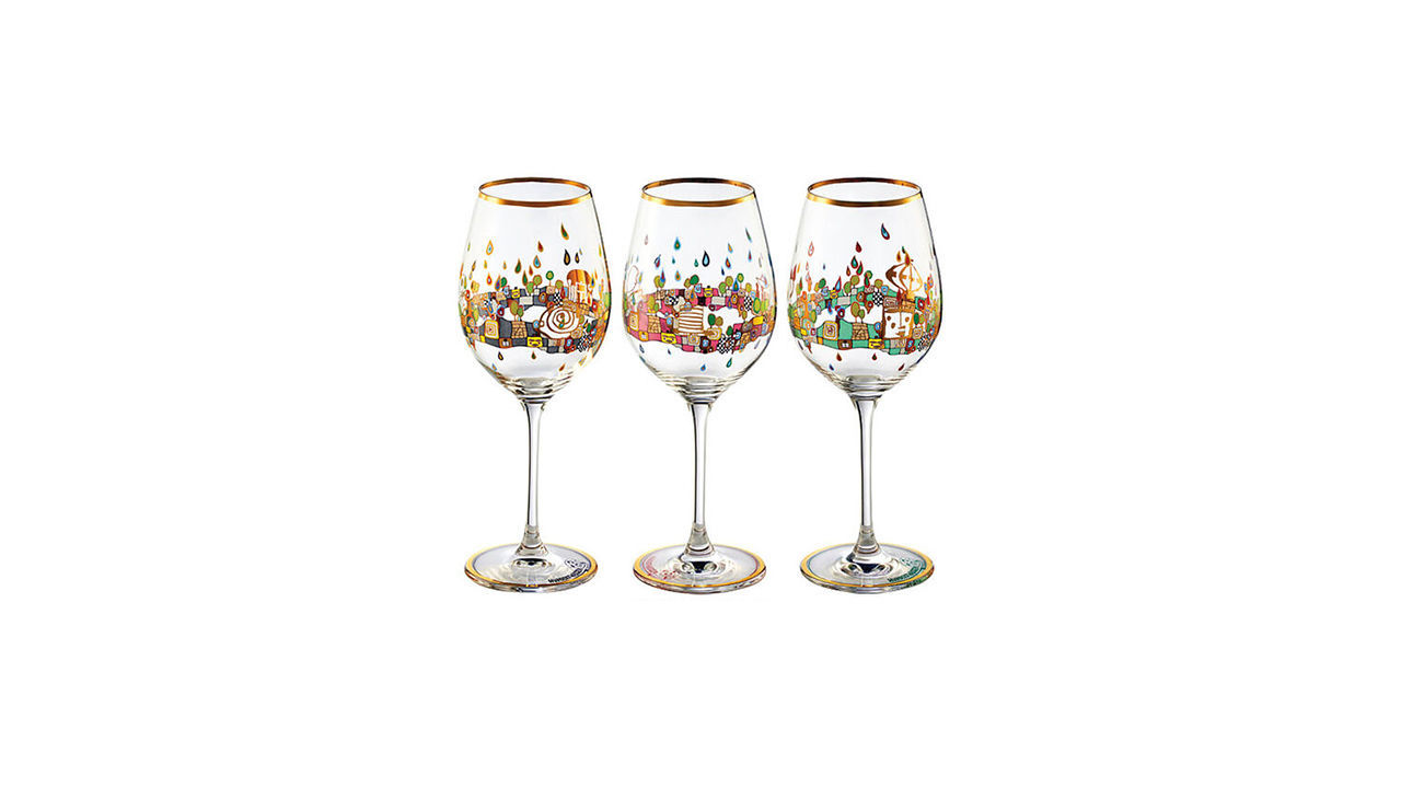 Product afbeelding: Friedensreich Hundertwasser set van 3 wijnglazen goud