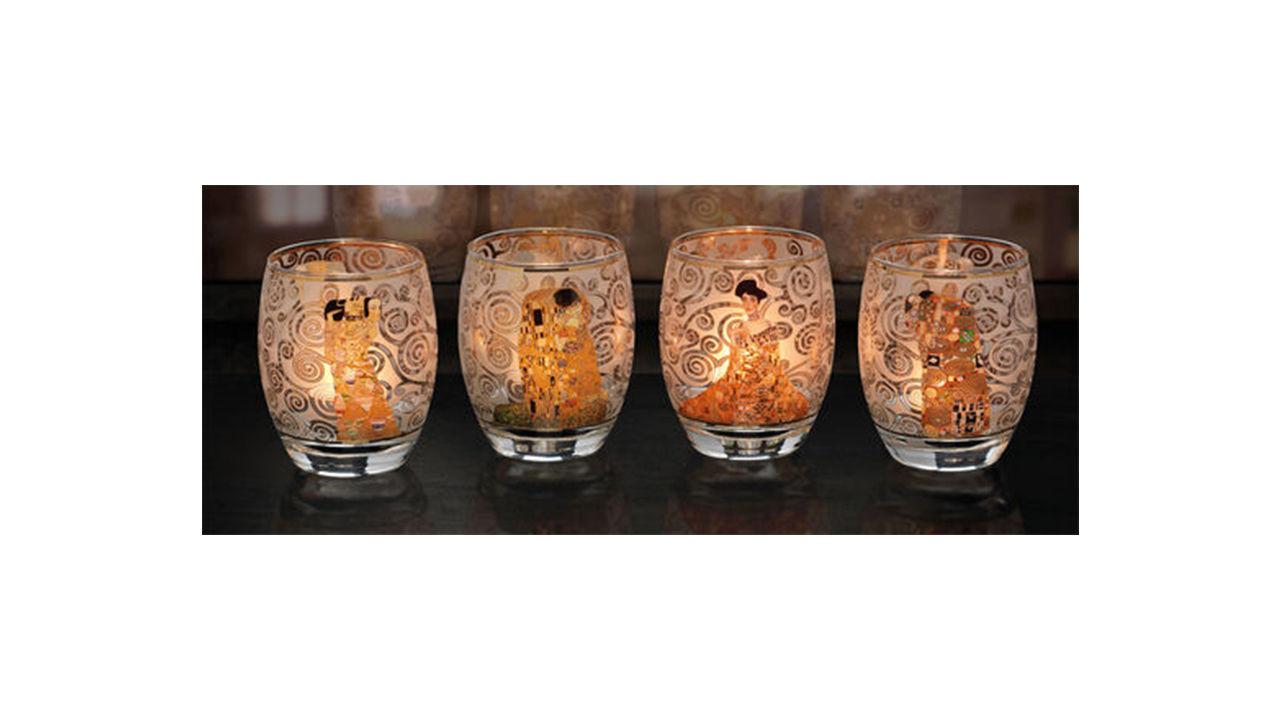 Product afbeelding: Gustav Klimt 4 theelichtglazen in een set