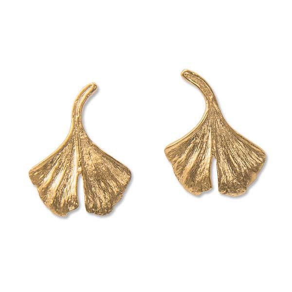 Product afbeelding: Ginkgo-oorsteker in 925 sterling zilver, verguld in goud