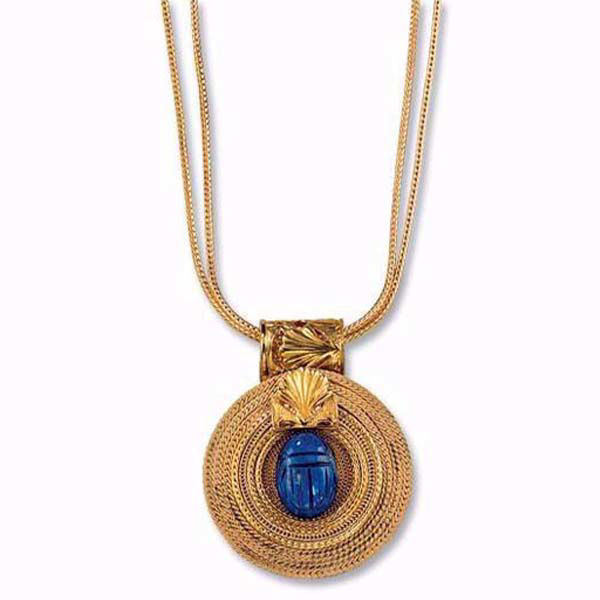 Product afbeelding: Petra Waszak Collier 'Zonnewiel met lapis lazuli scarab'