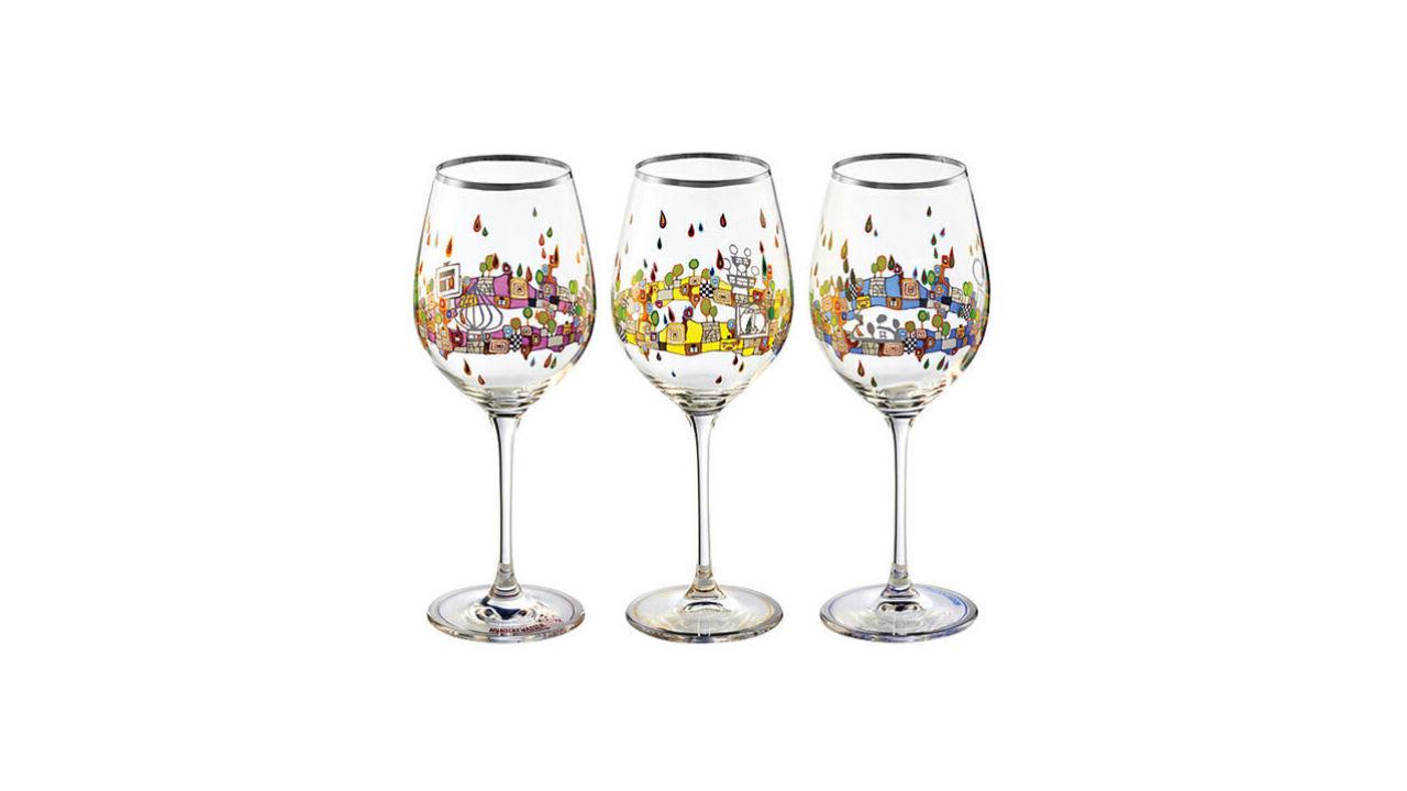 Product afbeelding: Friedensreich Hundertwasser set van 3 wijnglazen platina