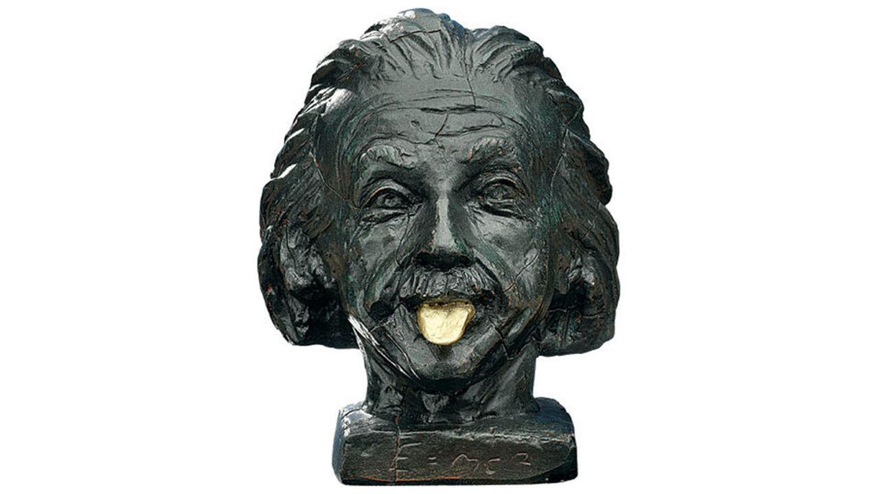 Product afbeelding: Beeld 'Einstein met gouden tong'