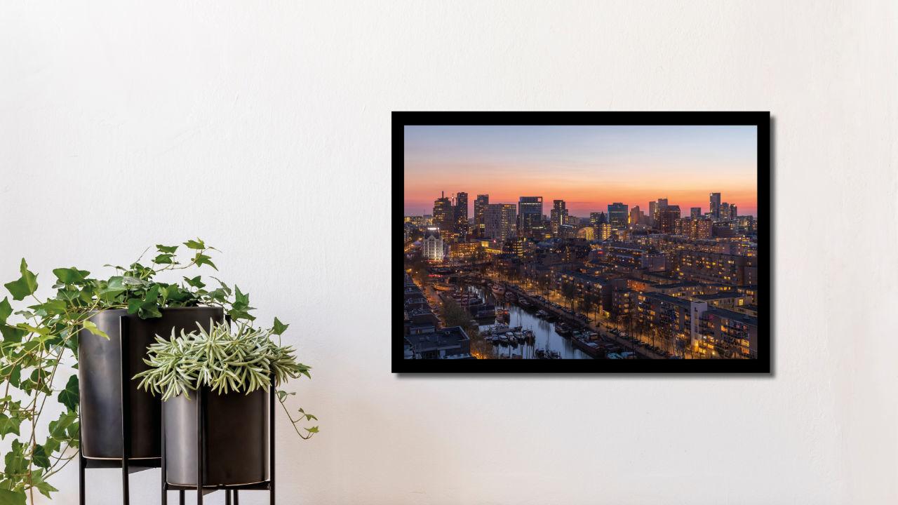 Product afbeelding: Fotoprint Zonsondergang in Rotterdam